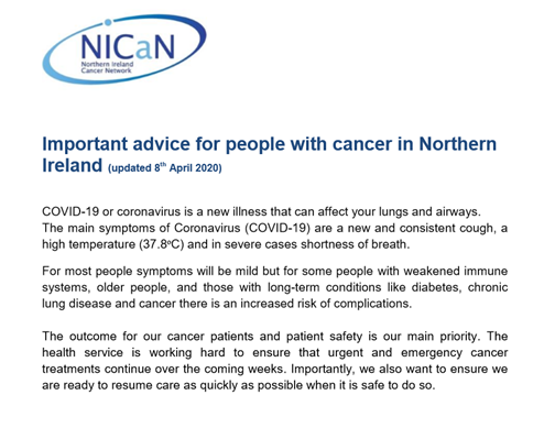 Important advice for people with cancer in Northern Ireland